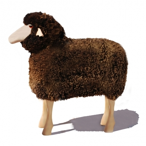 Sheep in life size, brown curly fur