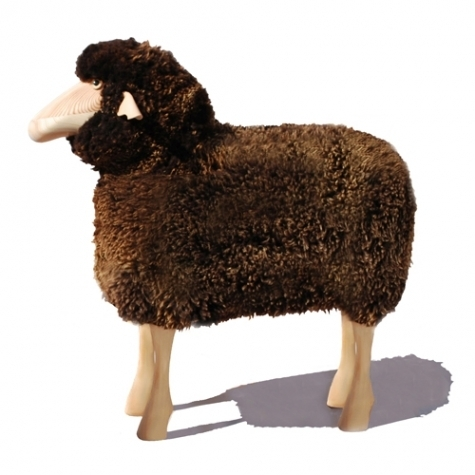 Outdoor sheep, brown curly sheepskin